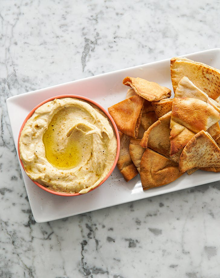 Easy Homemade Hummus With Za Atar Pita Chips Recipe Purewow