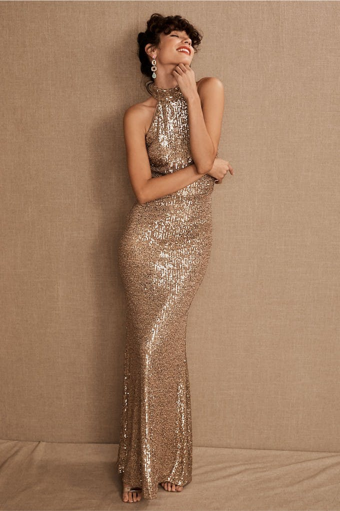 non white wedding dress bhldn gold sequins