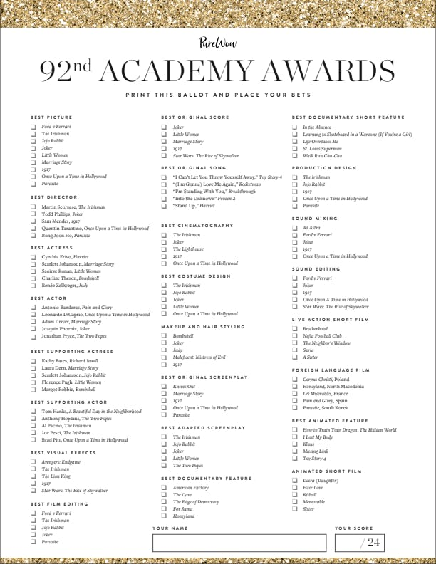 It is a picture of Persnickety Oscars 2020 Ballot Printable