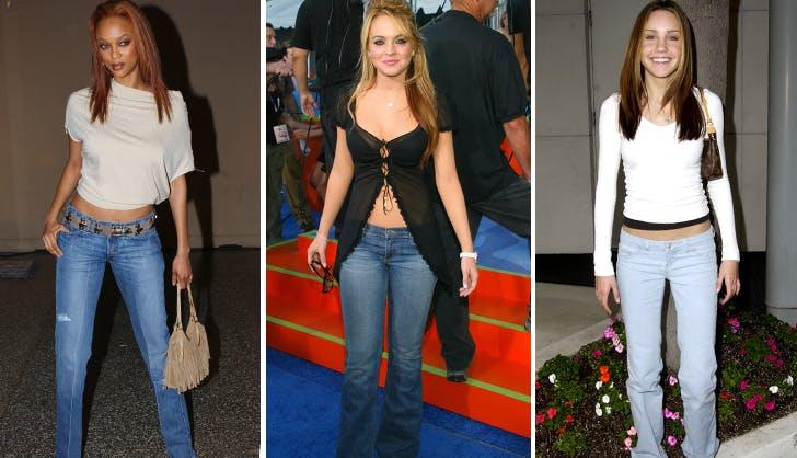 tyra banks lindsay lohan and amanda bynes wearing low rise jeans