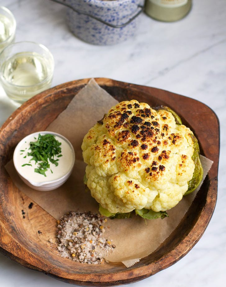 1. Charred Cauliflower with Garlic Tahini Sauce