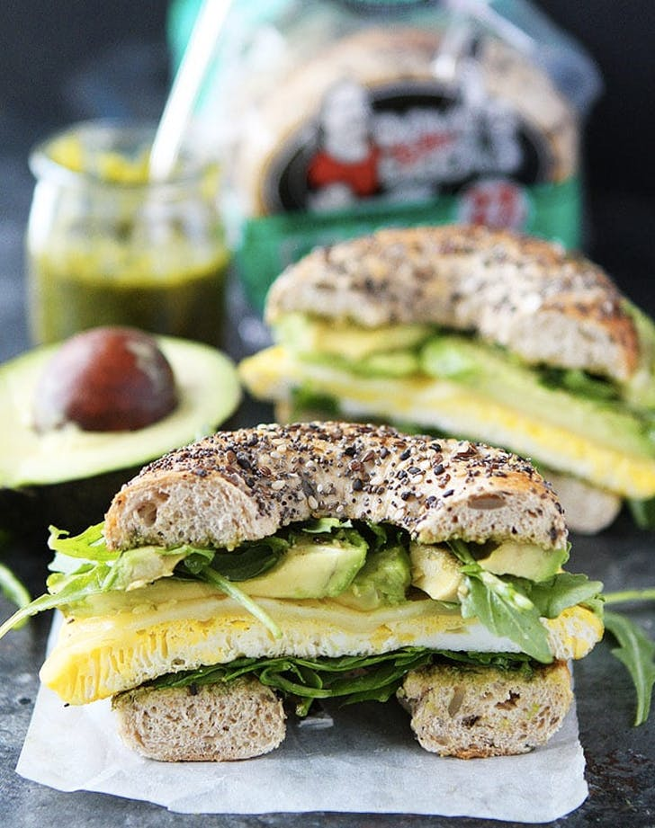1. Egg  Avocado and Pesto Bagel Sandwich