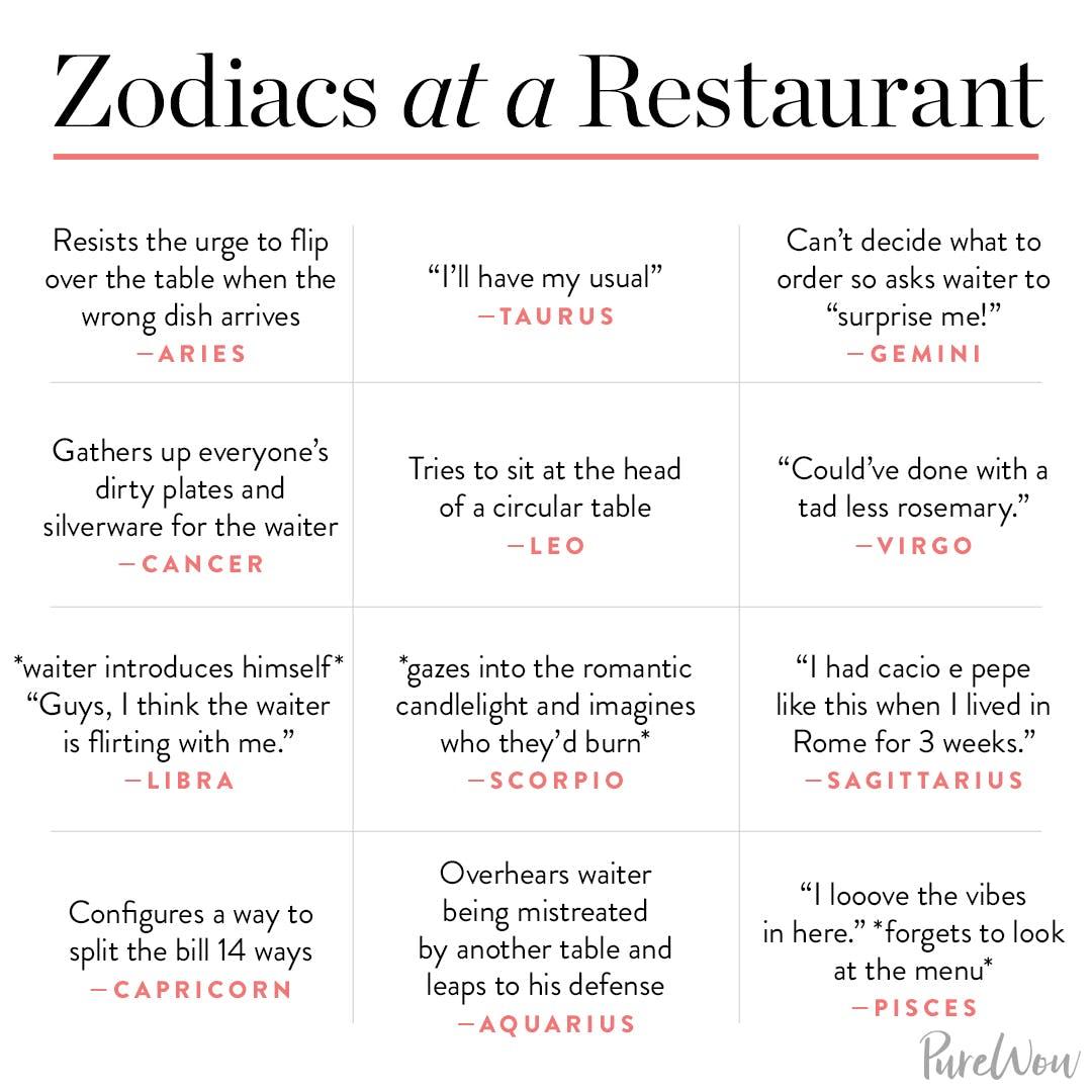 astrology memes restaurant