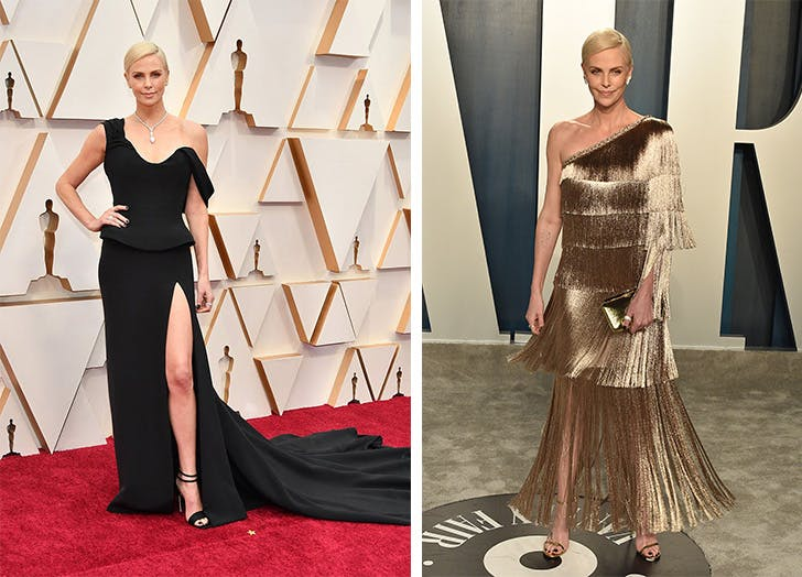 charlize theron oscars red carpet after party side by side