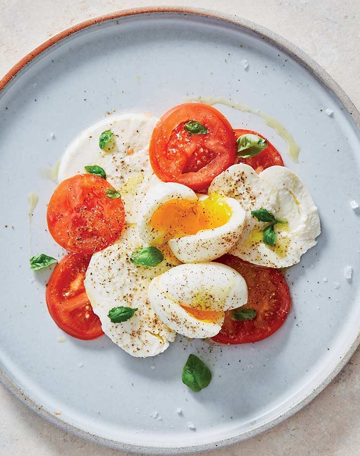 easter brunch ideas breakfast caprese with soft boiled eggs