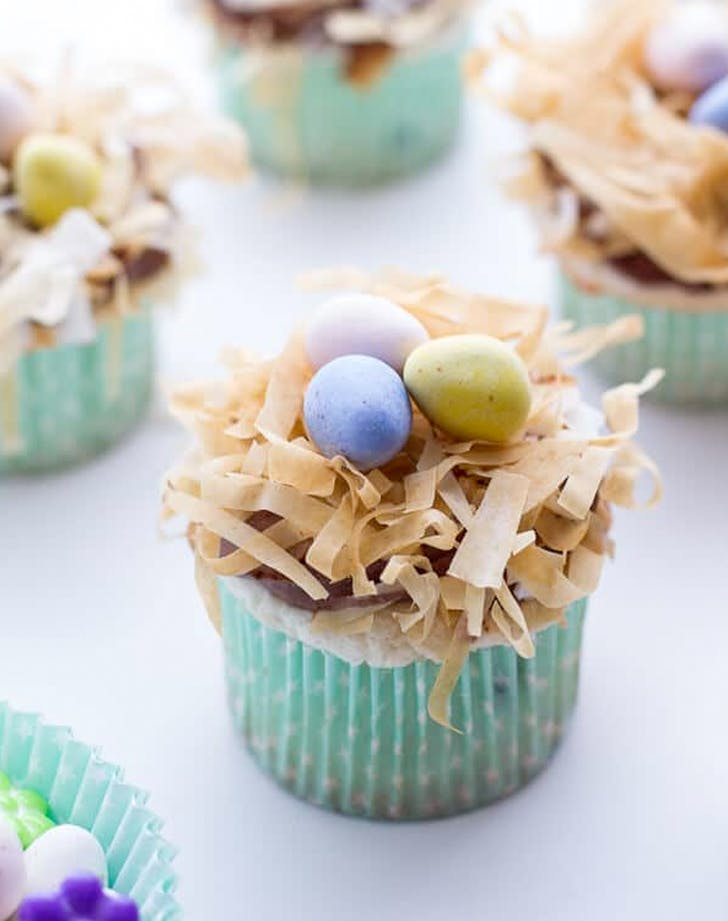 easter cupcakes angel food cupcakes with chocolate whipped coconut frosting and crispy phyllo nests recipe
