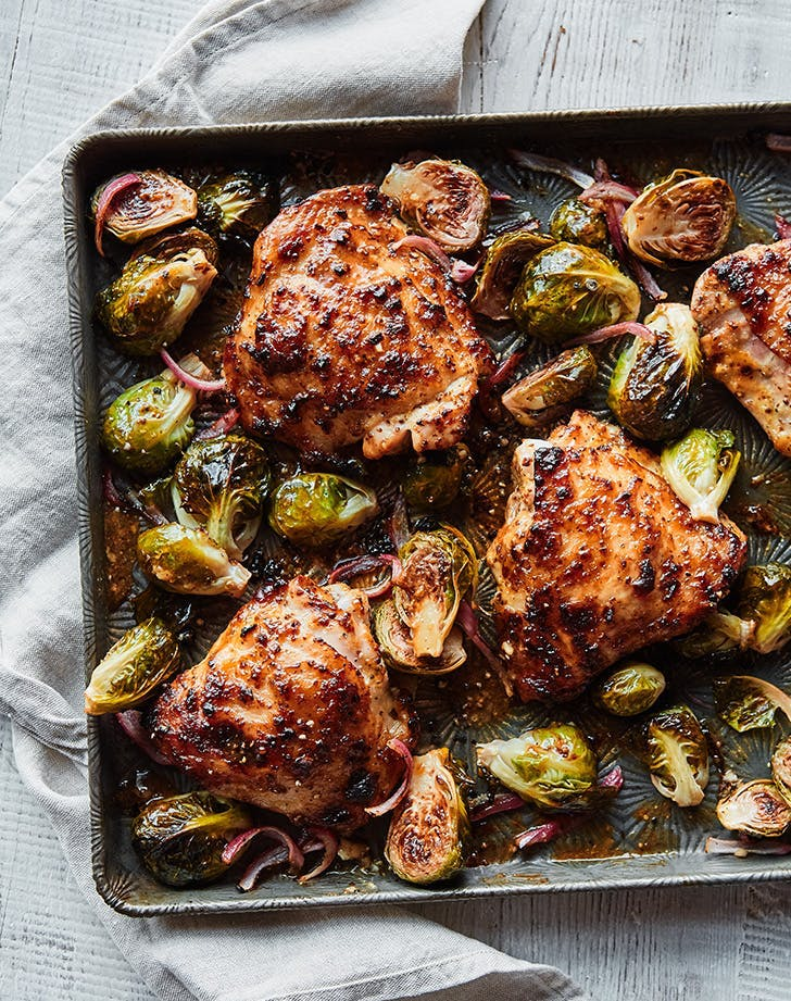 sheet pan chicken thighs honey mustard sheet pan chicken with brussels sprouts recipe
