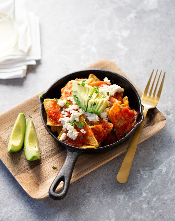 Vegan Chilaquiles with Red Sauce
