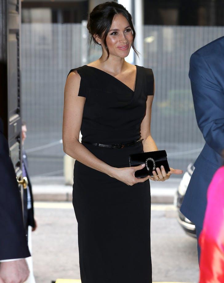 meghan markle black halo dress full