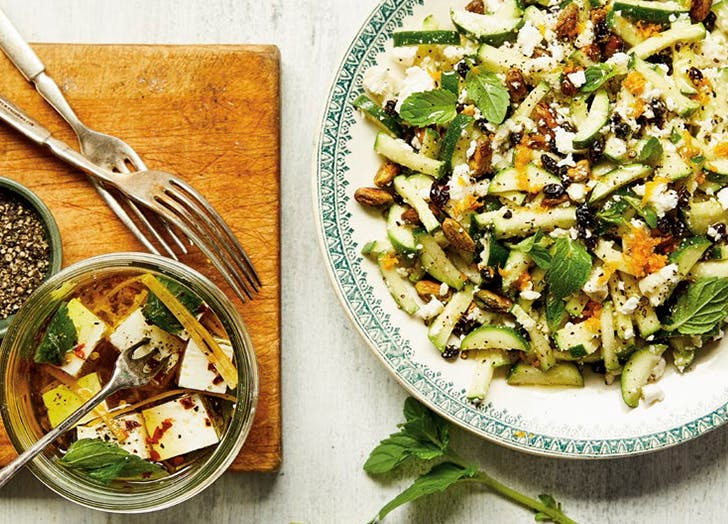 minty fresh zucchini salad with marinated feta recipe CAT