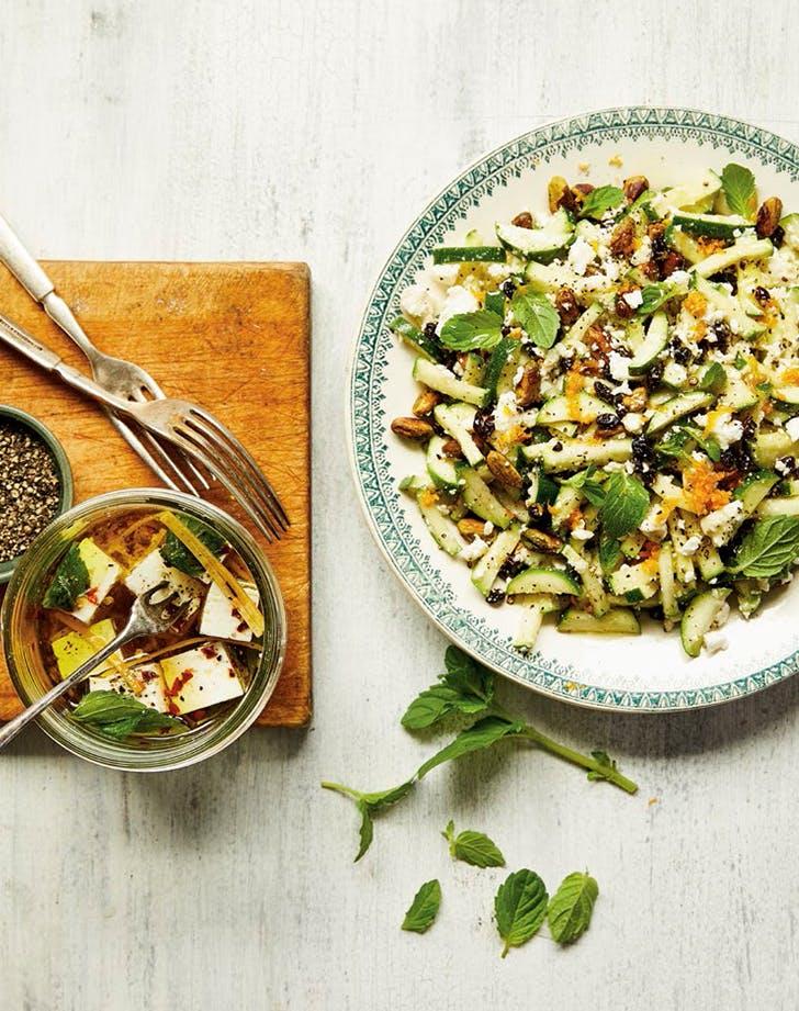 Minty-Fresh Zucchini Salad with Marinated Feta
