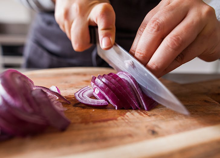 pantry staples chopping onions