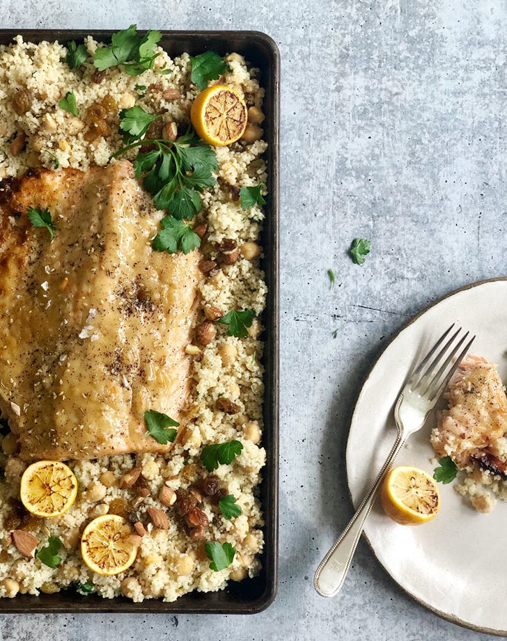 Sheet-Pan Honey Tahini Salmon with Chickpeas and Couscous
