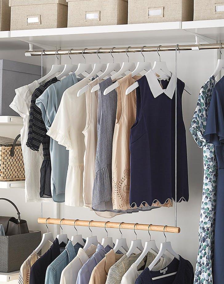 bedroom organization ideas double hanging racks
