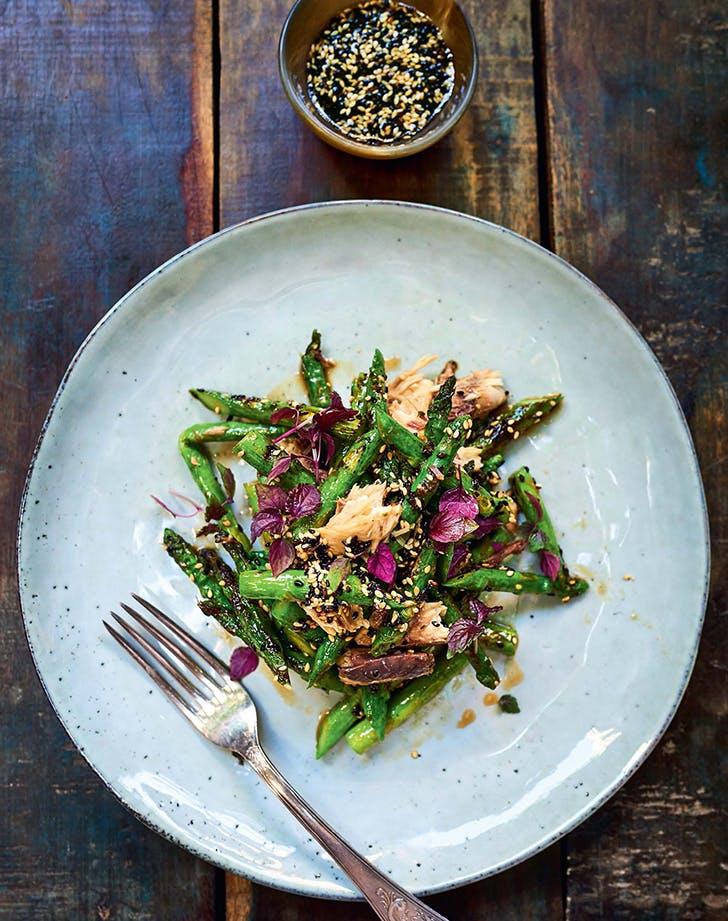 Mackerel Asparagus Salad with Sesame Vinaigrette