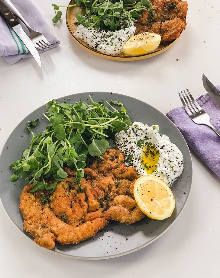 Pork Milanese with Cucumber Yogurt from <em>On the Line</em>, a Cookbook to Benefit Restaurant Workers