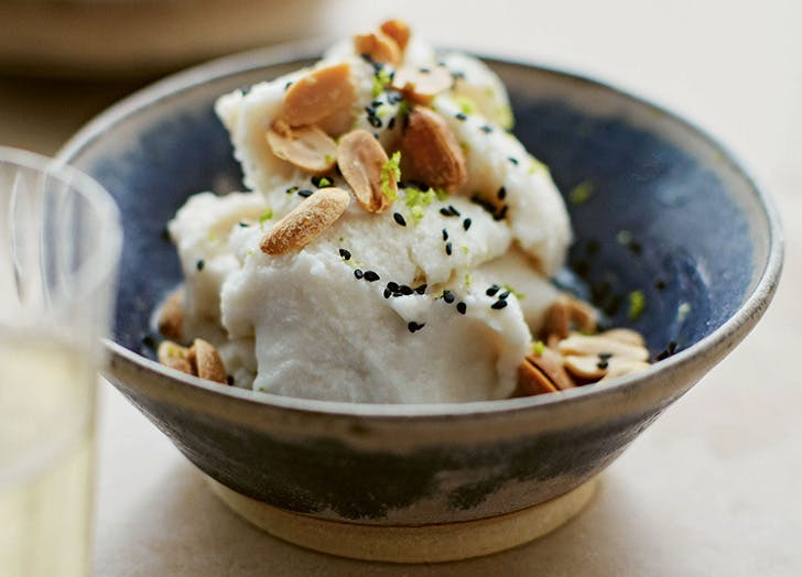 salted coconut sorbet with peanuts recipe CAT
