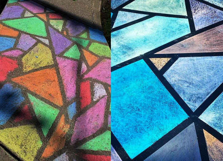 Stained Glass Chalk Art Is So Cool & Its Shockingly Easy to Create