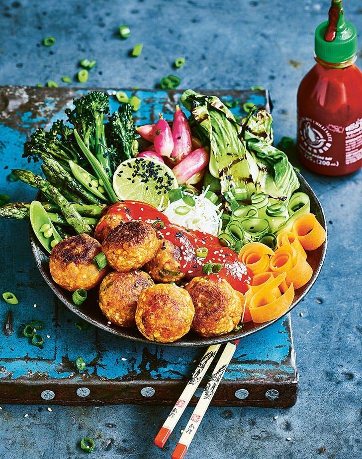 best vegan meatball recipes vegan sriracha meatballs noodles grilled vegetables recipe