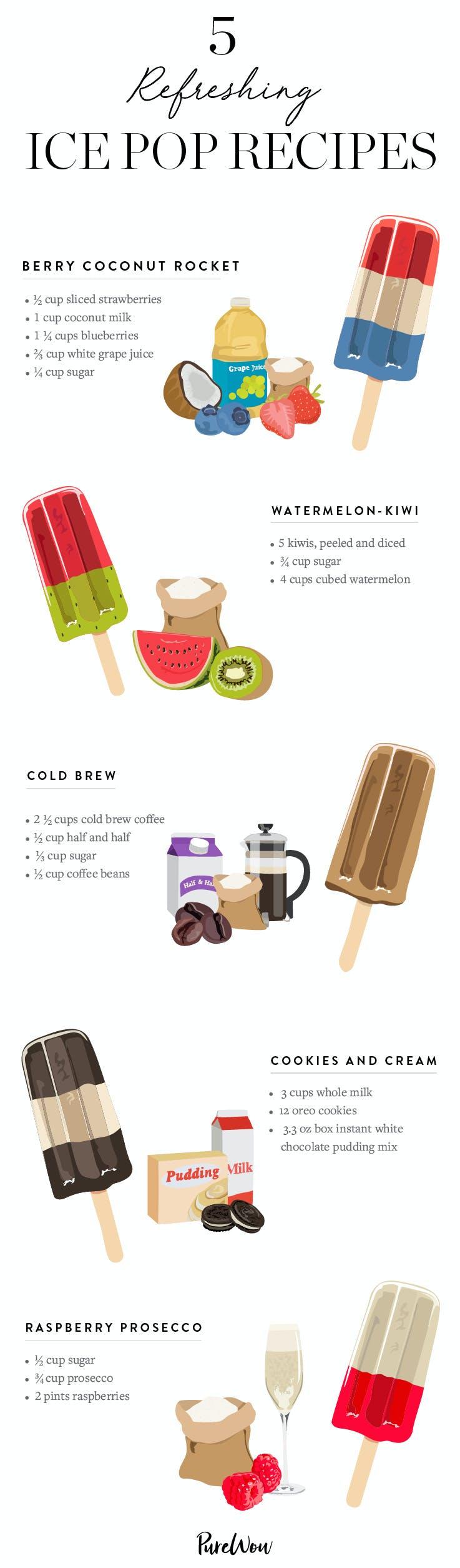 homemade ice pops recipe infographic