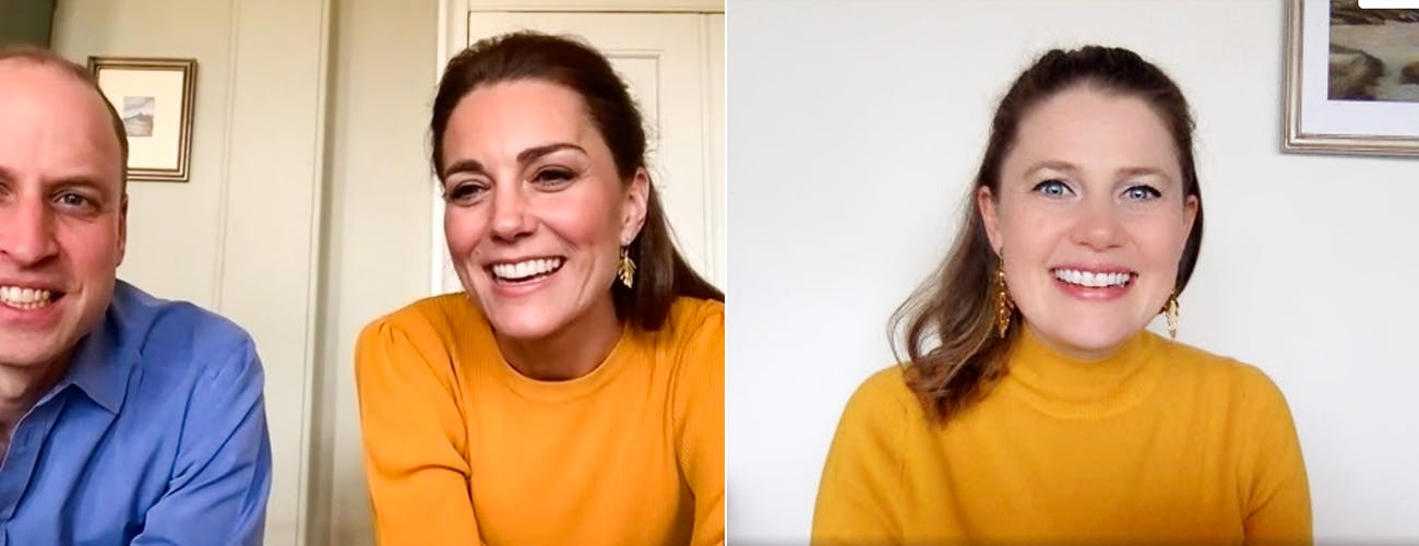 kate middleton mustard dress zoom call