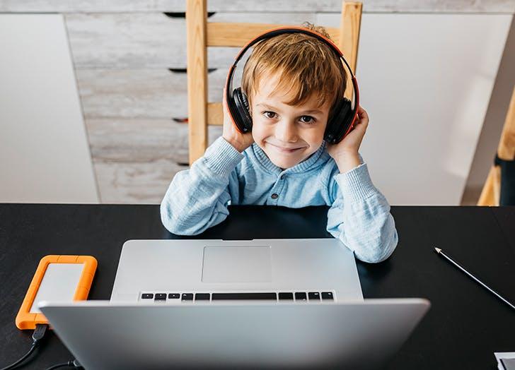 little boy at computer