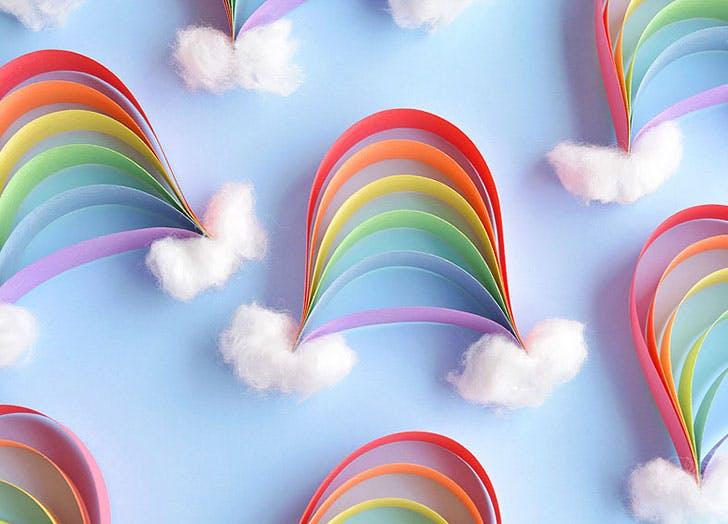 rainbow crafts Paper Strip Rainbows