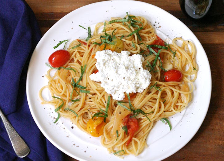 summer pasta with tomatoes basil and ricotta recipe CAT