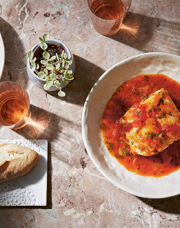 Tomato-Poached Cod with Fresh Herbs