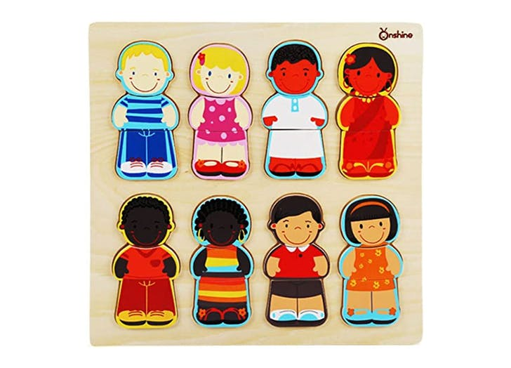 1. Wooden Children of the World Racial Cognition Dress up Puzzle