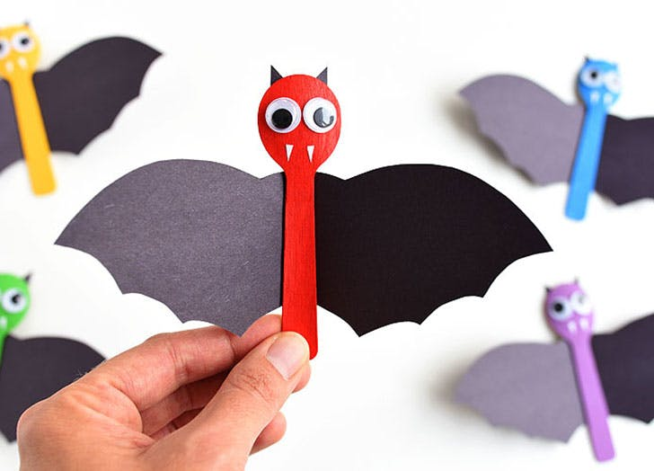 Wooden Spoon Bat Craft Halloween Crafts for Kids
