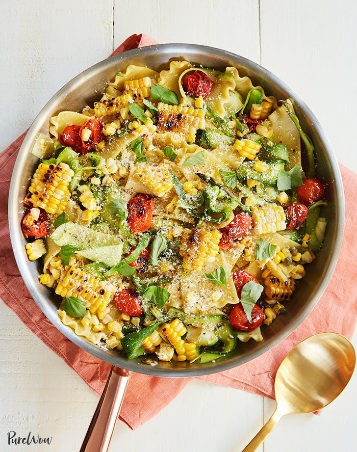 easy august dinner recipes cheaters lasagna corn cherry tomatoes zucchini recipe