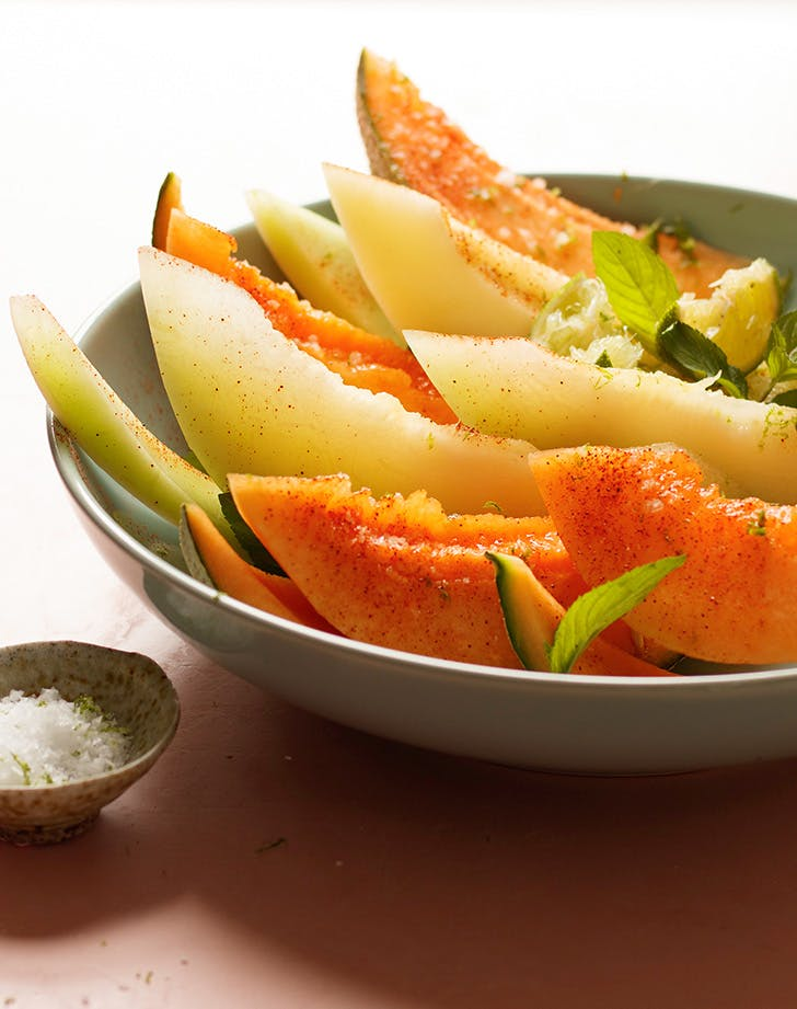 Melon Salad with Chili Powder, Mint, Lime and Flaky Sea Salt