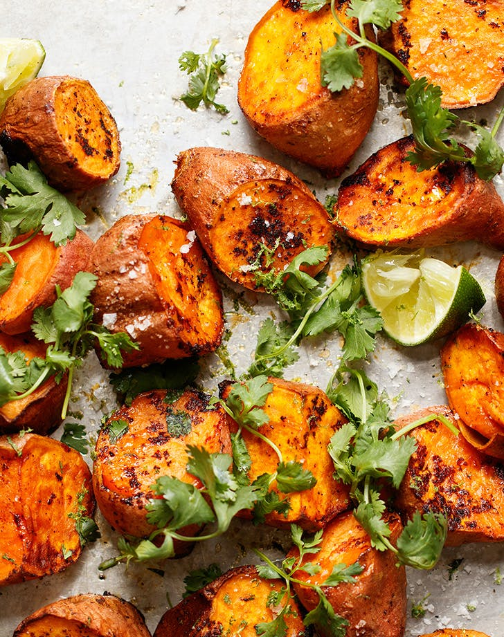 Roasted Sweet Potatoes with Sriracha and Lime