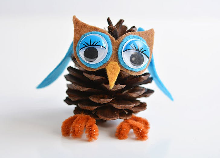 1. Pinecone Owls fall crafts for kids