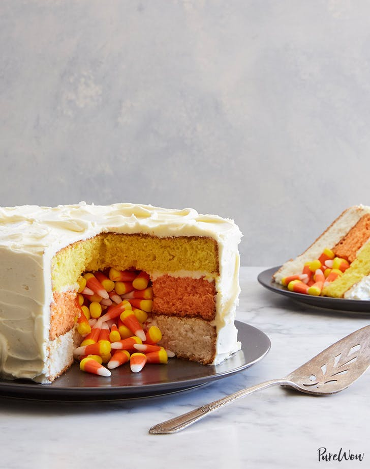 halloween dessert ideas Candy Corn Surprise Cake Recipe