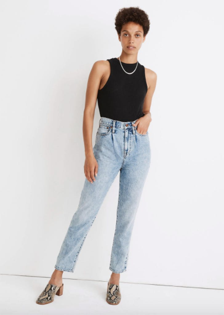 madewell The Pleated Momjean in Phair Wash