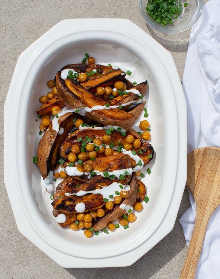 Oven-Roasted Sweet Potatoes with Crispy Chickpeas and Yogurt Sauce