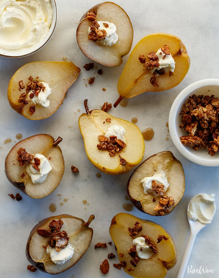 Baked Pears with Maple Syrup and Almond Crumble