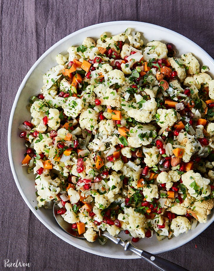 Cauliflower Stuffing with Pomegranate Seeds and Almonds