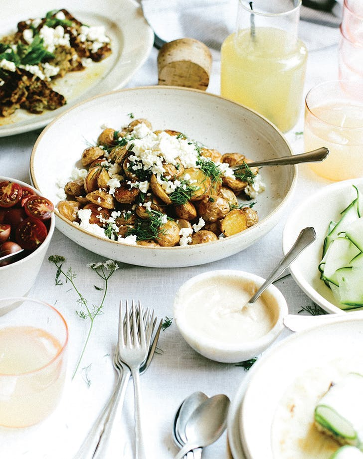 potato side dishes Salt and Vinegar Roasted Potatoes with Feta and Dill recipe