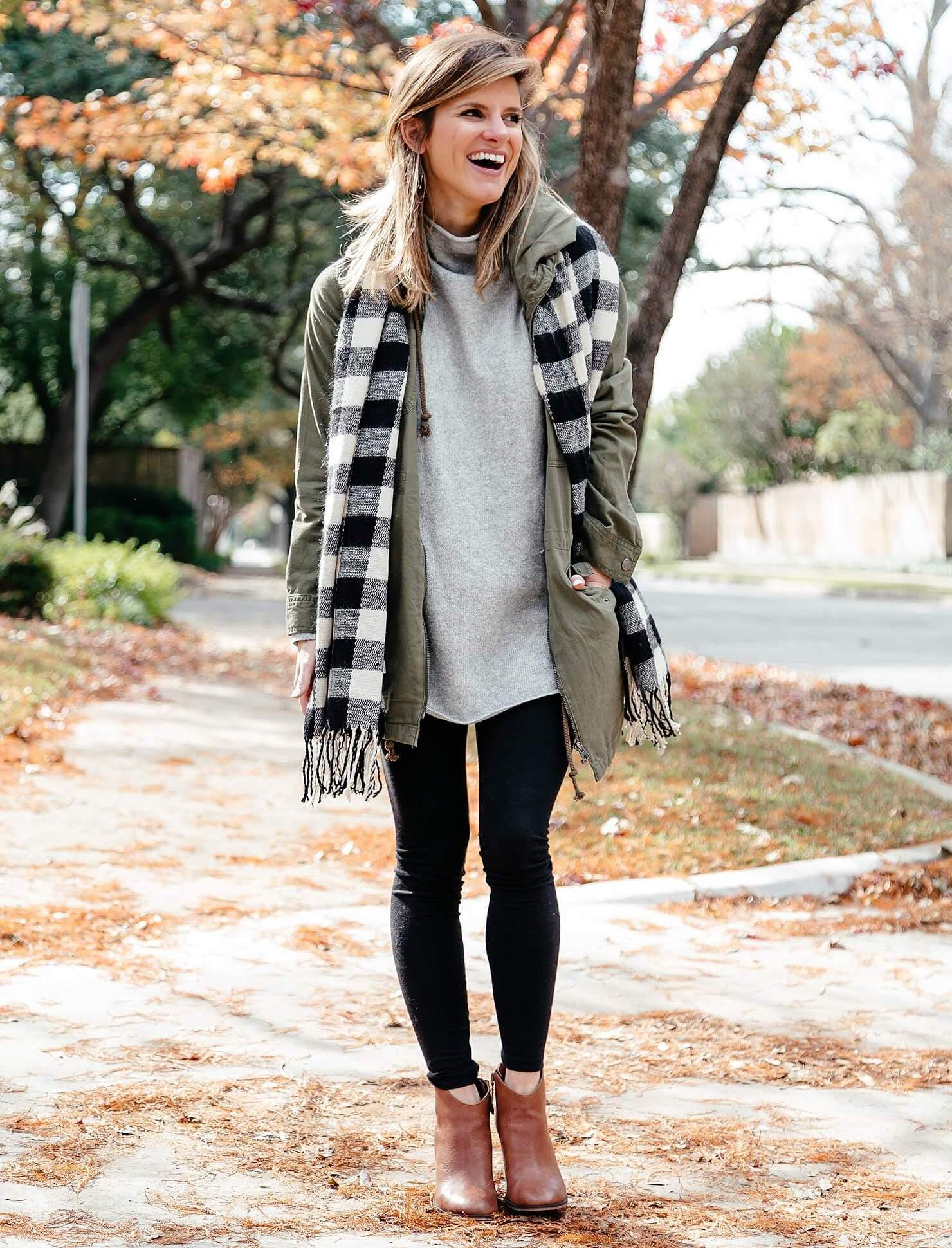 black leggings outfit with grey tunic scarf brown booties 11