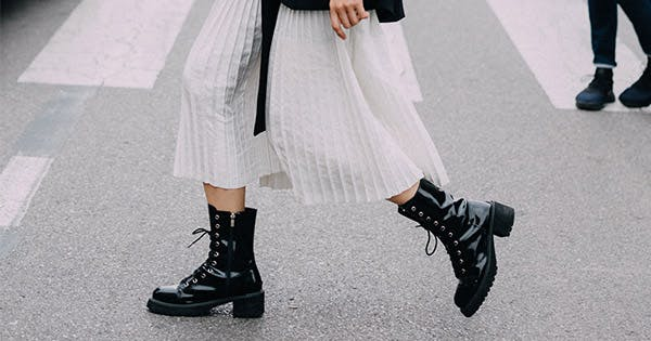 The No. 1 Rule for Wearing Combat Boots With Dresses