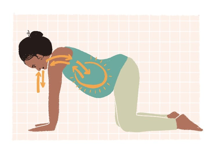 exercises to induce labor quadruped deep diaphragmatic breaths