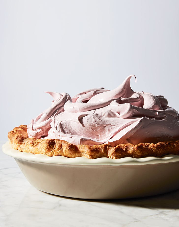 Peanut Butter Cream Pie with Raspberry Meringue