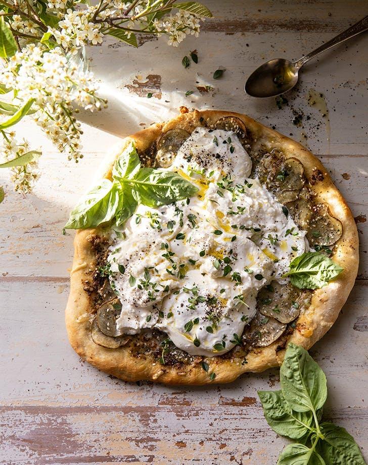 pizza topping ideas potato and burrata pizza recipe
