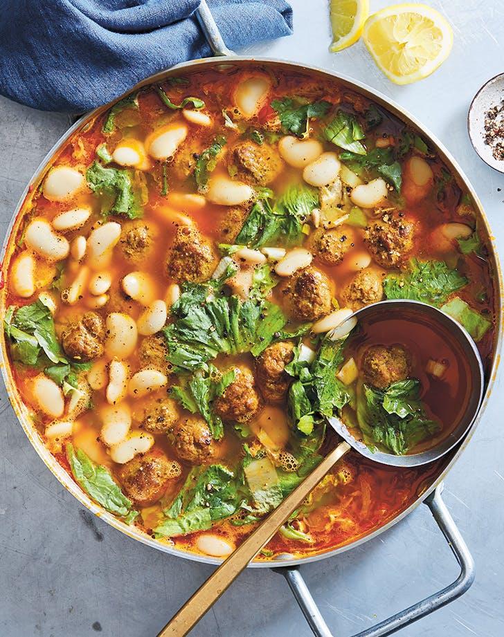 Spiced Lamb Meatball and Escarole Soup