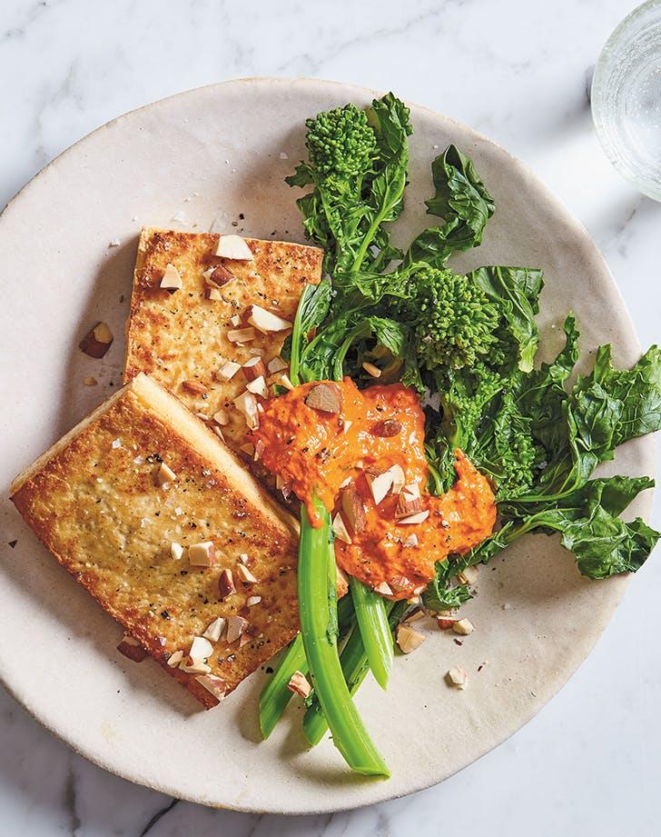 Crispy Tofu Steaks with Broccoli Rabe and Romesco