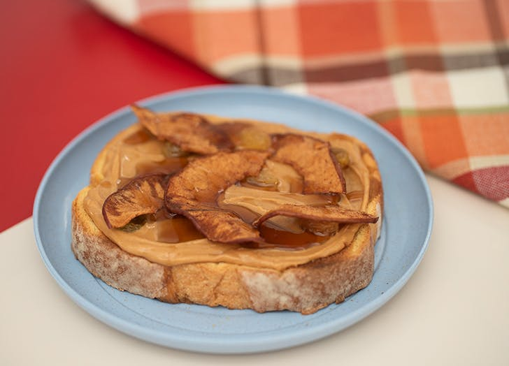 Spiced Apple Chips and Peanut Butter Toast