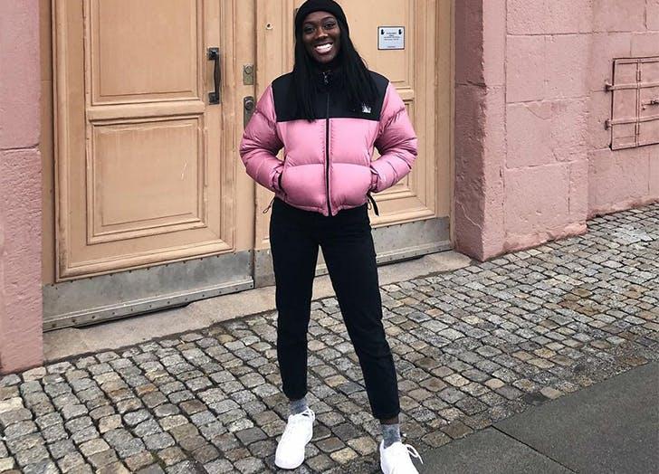 the north face 1996 retro nuptse jacket in pink
